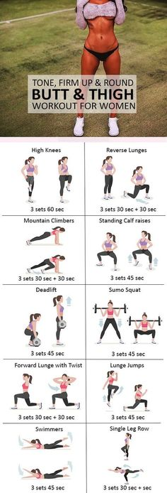 Get ready to experience this amazing workout! These are amazing exercises to lift and round buttocks. This women's workout will help you get sexy thighs and a big bum! Stay motivated always to bring out the best in you! Fitness Workouts, Fitness Del Yoga, Sport Fitness, At Home Workouts, Fitness Tips, Fitness Motivation, Health Fitness, Physical Fitness, Fitness Plan
