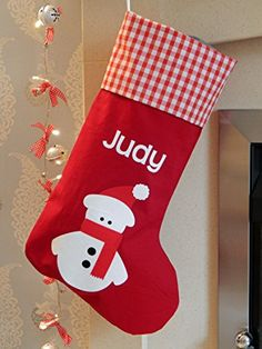 a6ac57b2d76f Personalised Christmas Stocking - Snowman Design - Any Name - Red
