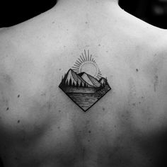 Mountain range tattoo by Wagner Basei