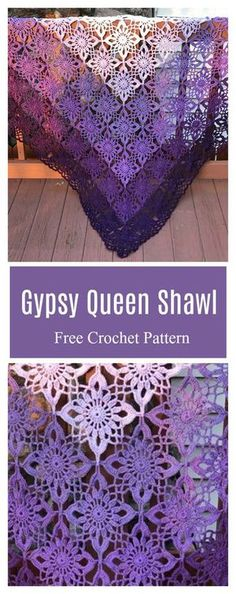 Crochet Square Patterns Gypsy Queen Shawl Free Crochet Pattern - This Gypsy Queen Shawl Free Crochet Pattern is a perfect choice to make a shawl. It not only gives you the warmth, but also a stylish layered look. Crochet Square Patterns, Crochet Motifs, Crochet Squares, Filet Crochet, Crochet Stitches, Knitting Patterns, Cross Stitches, Crochet Wrap Pattern, Poncho Patterns