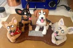 A four-dogger! Coco (chihuahua), Dynamite (mini pinscher), Echo (beagle) and Mouse (chihuahua) - a special custom order for a special volunteer with PAWS of Chicago!
