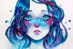 Starred Freckles, Qinni, Watercolor, 2016 Wow. I had to look this up. There's a cool time lapse of her making this painting on instagram. Yeah, I was partly inspired by that. But not just her, als...