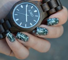JORD Wood Watches Fieldcrest in Dark Sandalwood- $120 Nail art- Firecracker Lacquer A Stone to Resurrect stamped with UberChic 4-02. #watch #woodwatch #JORD #JORDWoodWatches #timepiece #classic #style #fashion #sandalwood #accessory #naturalwood #wood #prsample #polishedlifting #handcrafted #uberchic #firecrackerlacquer #jordwatch