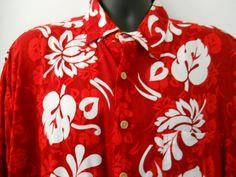 XL Mens Hana Bay Red Hawaiian Shirt White Flowers Leaves in Vertical Panels Hawaiian Wear, Aloha Shirt, Hana, White Flowers, Men Casual, Leaves, Red, Pattern, Prints