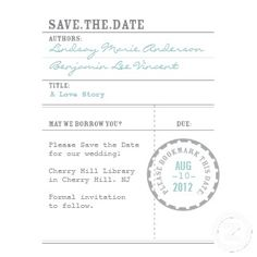 Library Card Save the Date Custom Invites from Letterboxink