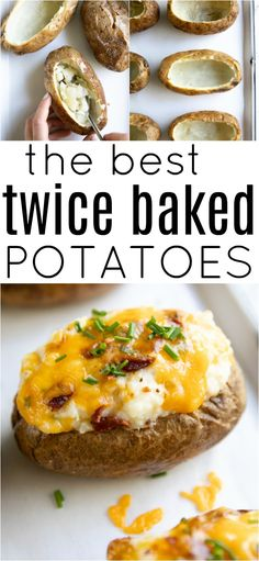 The BEST Twice Baked Potatoes potato potatorecipe twicebakedpotatorecipe sidedish easyrecipe mashedpotato bakedpotato via 462322717998377134 Easy Twice Baked Potatoes, Baked Potato Recipes, Mashed Potatoes, Best Baked Potato, Cheesy Potatoes, Señor Potato, Potato Meals, Good Food, Yummy Food
