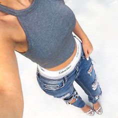 Casual Street Outfit Style fashion style denim ripped jeans fashion and style calvin klein