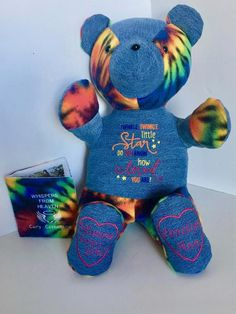 Excited Memory Book - Tie Dye Keepsake - Whispers from Heaven - Bear made from loved fabric - Bereavement Gift - made from loved one shirt One Clothing, Baby Size, Guinea Pigs, Squirrel, First Love, Dinosaur Stuffed Animal, Memories, Embroidery, Make It Yourself