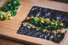 Fall sweet potato and kale sushi