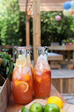 Honey-Sweetened Peach Lemonade | Simple Bites #recipe #drinks #eatseasonal