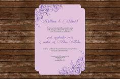 Elegant Wedding Invitation, Wedding Invitation,  Lilac Wedding Invitation, Floral Wedding Invitation Lilac Wedding Invitations, Purple Wedding, Purple Wedding Stationery