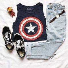 49 Cute Summer Outfits | Fashion Inspiration @ngxcivy on Instagram -- Captain Marvel cropped tank top. skinny jeans. black vans. Avengers outfit. watch.