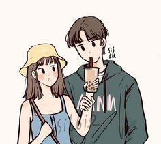 Cute Couple Drawings, Cute Couple Art, Cute Drawings, Cartoon Art Styles, Cute Art Styles, Cute Illustration, Character Illustration, Arte Indie, Dibujos Cute