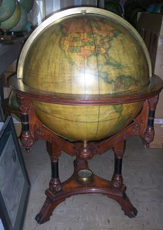 rare andrews 30 inch floor globe in american renaissance revival ornate stand circa asking