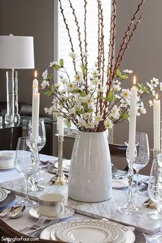 Spring centerpiece and tablescape decor ideas www.settingforfour.com