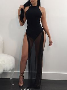 Shop See Through Side Split Backless Maxi Romper Dress right now, get great deals at Joyshoetique.