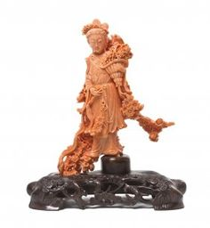 A Finely Carved Chinese Coral Model Of A Lady, Hei