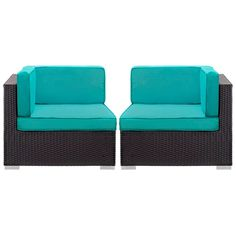 Gather Corner Sectional Outdoor Patio Set of Two in Espresso Turquoise