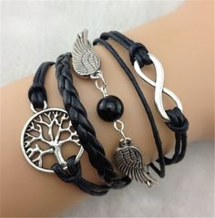 Multiple Wings With Pearl Fashion Leather Cord Bracelet