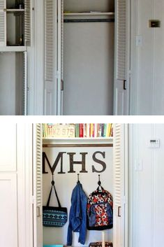 Get organized for back to school with this easy and quick entry closet organization idea. Entry Closet Organization, Back To School Organization, Laundry Room Organization, Heavy Duty Garage Shelving, Hanging Bar, Built In Storage, Organizing Your Home, Getting Organized, Diys