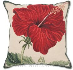 Red Hibiscus Needlepoint Pillow - Floral Needlepoint Pillows at NeedlepointPillows.com