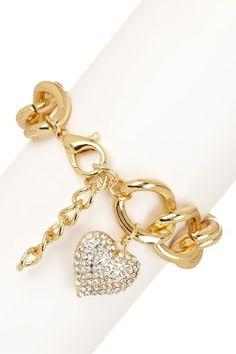 Gold Chain Pave Heart Charm Bracelet