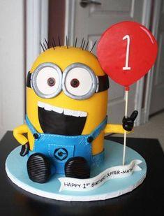 Cute Sculpted Minion Cake for a first birthday. Gumpaste/Fondant www. Fondant Minions, Cupcake Minions, Torta Minion, Bolo Minion, Minion Birthday, First Birthday Cakes, 1st Birthday Parties, Birthday Cake For Kids, 3rd Birthday
