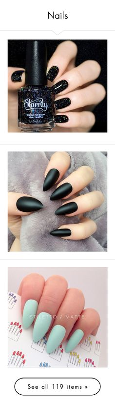 """Nails"" by mel-grey-lannister ❤ liked on Polyvore featuring beauty products, nail care, nail polish, nails, beauty, makeup, bright nail polish, glitter nail polish, black nail polish and black glitter nail polish"