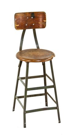 unrestored c. 1950's vintage american industrial factory machine shop four-legged angled iron pollard stool with maple wood backrest - pollard brothers mfg. co., chicago, il. #vintage #industrial #stool