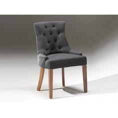 Absolument charmante la chaise capitonnée en tissu de couleur gris anthracite, cette chaise habillera votre intérieur d'élégance et de charme, elle séduira l...