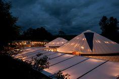 Wedding Yurts at night @ Fron Farm Yurt Retreat . A unique and unusual wedding venue in West Wales.