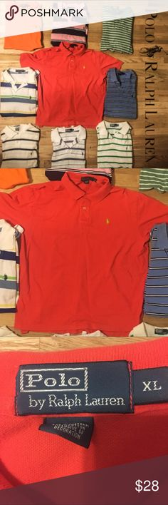 Ralph Lauren Polo button up collared short sleeve EUC so my bf buys shirts only wears 1x! All are available excellent condition almost new with tags NWT! 👀 At the pics and ask questions if you have them! I copy and paste-listings are similar! will do great bundles! Men's polo have button up down dress or casual short half sleeve shirt w collar . All accessories listed! Some striped tiny or Large w many colors w red green blue orange yellow purple pink brown. Tags # Tommy Hilfiger # Nautica…