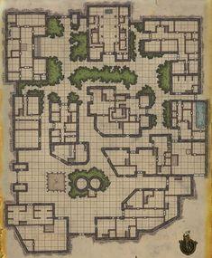 Enclosed manor compound.