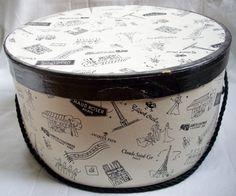 1950s Hat Box Round Vintage Black and White Paris by VintageBarrel, $24.99