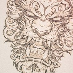 Working on a series of masks. Tribal Tattoos, Asian Tattoos, Body Art Tattoos, Sleeve Tattoos, Tattoos Skull, Celtic Tattoos, Foo Dog Tattoo Design, Tattoo Design Drawings, Tattoo Sketches