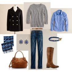 more with the boots, and like the grey sweater with the brown....