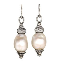 White Baroque Pearl Diamond Silver Gold Swing Drop Earrings | From a unique collection of vintage chandelier earrings at https://www.1stdibs.com/jewelry/earrings/chandelier-earrings/