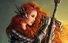 Fantasy Art Women Warriors   women fantasy art armor artwork warriors orange hair swords wallpaper ...
