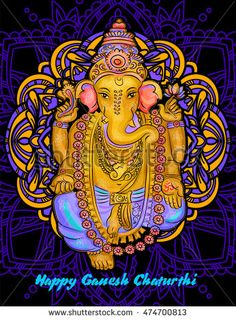lord Ganesh. Ganesh Puja. Ganesh Chaturthi. It is used for postcards, prints, textiles tattoo