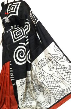 Shop for Multicolor Hand Painted Bishnupuri Silk Saree Online. International & Domestic Shipping available. Shop More Hand Painted Saree at Luxurionworld. Saree Painting Designs, Fabric Paint Designs, Sari Blouse Designs, Sari Design, Hand Painted Sarees, Stoff Design, Silk Cotton Sarees, Painted Clothes, Applique Dress