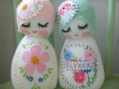 I love the 1920's look for this doll with the stitched decoration ! love this love this. Its probably a sock too!