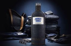 Celebrated Brooklyn-based denim designer Loren Cronk, a star in the avant-garde street fashion scene, has designed a fitted denim bottle skin for Absolut Vodka sure to create a cool conversation piece Alcohol Calories, Beer Calories, Carbs In Beer, Absolut Vodka, Get Drunk Not Fat, Denim Look, Peanut Brittle, How To Make Beer, Wine And Spirits