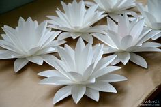 Nenuphar en papier Plus Book Flowers, Giant Paper Flowers, Diy Flowers, Decoration Evenementielle, Decoration Vitrine, Flower Crafts, Flower Art, Pop Up Flower Cards, Paper Lotus