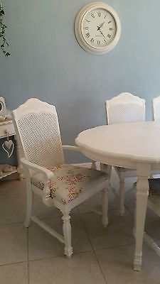 Shabby chic French Bergere table and 6 chairs in Laura Ashley White & Roses