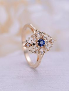 Art deco engagement ring Vintage Sapphire engagement ring rose gold Floral Unique Diamond wedding women Bridal Anniversary gift for her - diamonds are a girls best friend - Engagement Rings Engagement Ring Rose Gold, Diamond Wedding Rings, Engagement Ring Settings, Vintage Engagement Rings, Vintage Rings, Unique Vintage, Vintage Art, Non Traditional Engagement Rings Vintage, Vintage Diamond