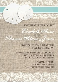 Sand dollar and lace #beach_wedding_invitations