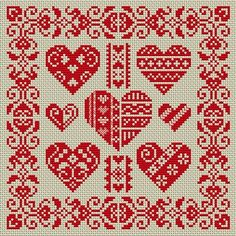 Free cross-stich patterns -- lots and lots of patterns. Cross Stitch Heart, Cross Stitch Borders, Cross Stitch Designs, Cross Stitching, Cross Stitch Patterns, Heart Patterns, Christmas Embroidery Patterns, Embroidery Hearts, Embroidery Patterns Free