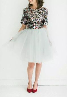 Sequins, tulle & a pop of color! <3