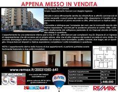 Appena Messo in Vendita Bari, Via Capruzzi (altezza Via Giulio Petroni) Ampio Appartamento Esavani con doppio ingresso www.remax.it/20031050-641 info 348 7340665