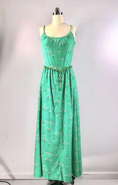 541aa0b4d968 Malia Hawaiian Maxi Dress Vintage 60s 70s Green Cotton Sundress Floral  Medium 38 bust